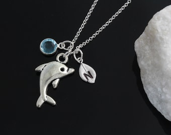Dolphin necklace, personalized silver dolphin necklace, birthstone jewelry initial necklace, Dolphin necklace on sterling silver chain