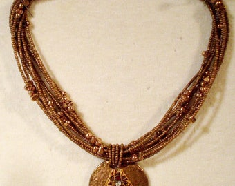 Unique Vintage Joan Rivers Copper & Rhinestone Necklace