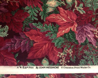 Quilt fabric rich reds purples greens JOAN MESSMORE Cranston Print Works sewing supply  quilt fabric 100% cotton