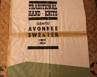60's Traditional Hand-knit Gent's Avonree Sweater Crew Neck vintage knitting pattern Kilkenny Ireland Aran Jumper