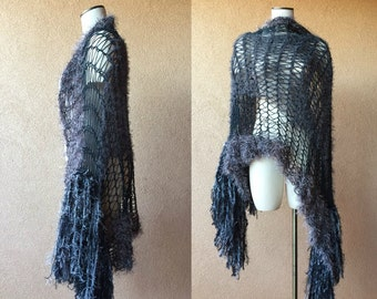 Gray and Black Charcoal Grey Shawl with Silver, Charcoal Shawl with Metallic Sparkle Fringe Warm Shawl Large Shawl Stevie Nicks Shawl