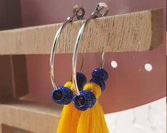 Blue tassel beads hoop earrings yellow