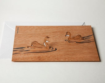 3 pop up cards wood with envelope - swan cards