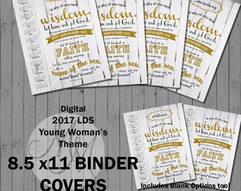 2017 Young Women Binder Covers. If any of you lack wisdom. Gold Leaf. Digital. Value Colors. Printable