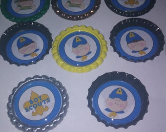 Boy Scout themed bottle cap magnets or boy scouts cupcake toppers
