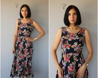 Vintage Dark Floral Print Dress | 1990s Dress | Printed Rayon Dress | Vintage Maxi Dress | 1990s does 1930s Dress | 90s does 30s Dress