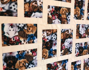 Unfinished Quilt Top, Puppy Quilt, Dog Quilt top, Dog Blanket, Baby Quilt, Fogs, Puppies