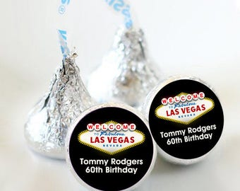 108 Birthday in Las Vegas Hershey Kiss® Stickers - Hershey Kiss Stickers Birthday - Candy Labels - Wedding Favors - Candy Stickers