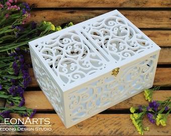 Wedding baskets boxes etsy wedding card box wedding gift plywood box love story keepsake box wedding solutioingenieria Images