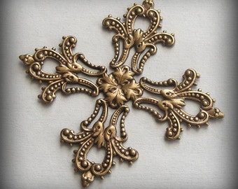 1 pc Heirloom Quality Ornate Brass Ox Filigree Focal Maltese Cross 40mm T50-VJS F-A1647