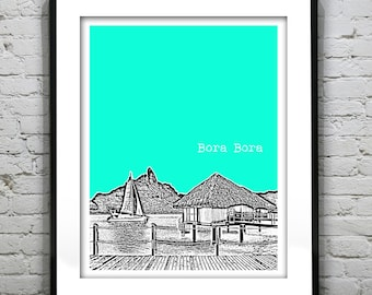 Bora Bora Poster City Skyline Art  French Polynesia