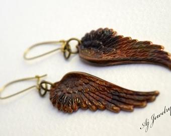 Brass Angel Wing Earrings  OOAK