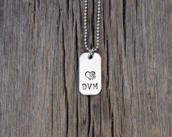 Hand stamped Veterinarian necklace / vet / veterinary medicine /  DVM