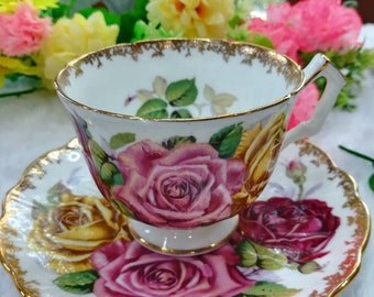 Aynsley cabbage rose vintage tea cup and saucer