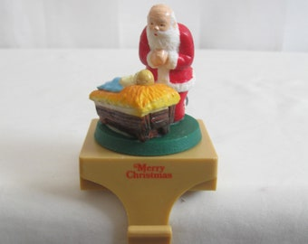 1986 KNEELING Santa Musical Wind Up Christmas Stocking Holder Holiday Stocking Holder Christmas Decor See Details
