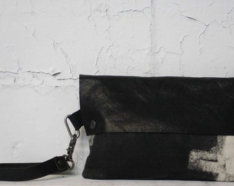 Leather Clutch bag , Canvas Handbags ,Wristlet, Edgy Accessories