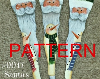 EPATTERN #0047 Santa's snowmen ornaments, Christmas ornaments pattern, tole painting pattern, decorative painting, Santa pattern, snowman