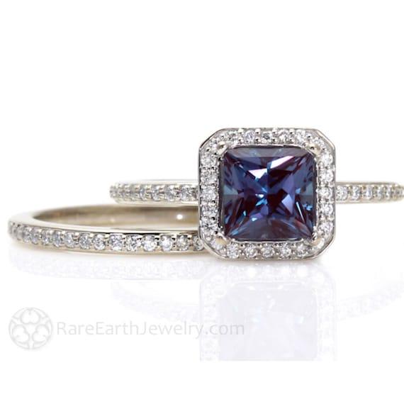 Princess Alexandrite Engagement Ring & Matching Band Diamond