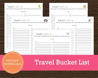 Travel Bucket List - Travel Planner - Vancation Planner - Printable and Editable - INSTANT PDF DOWNLOAD - 5 Pages
