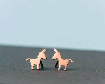 Tiny Donkey Earrings Donkey Studs sterling silver Ass stud earrings mule gold studs Minimal Jewelry Kids Teen gift for her mom gift