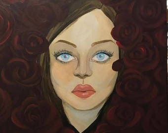 Roses and a Woman Original Painting