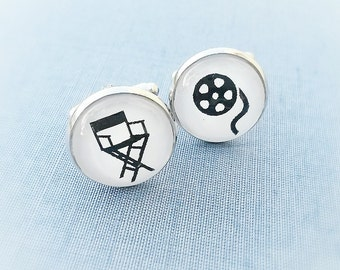 Director's chair cuff links,Gift for actors,Groom cufflinks,men's gift,Bobine cinema cufflinks,Gift for movie director,cinema lover,-cinema