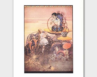 "Alice in Wonderland Hookah Pipe (Vintage Fantasy Art Print, Art Deco Decor) --- ""Caterpillar"" No. 75"