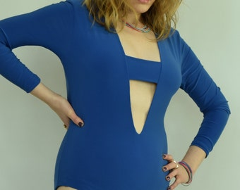 Blue bodysuit Cutout leotard Blue leotard Plunge leotard V neck bodysuit Long sleeve body Pull on leotard Blue plunge leotard V neck body