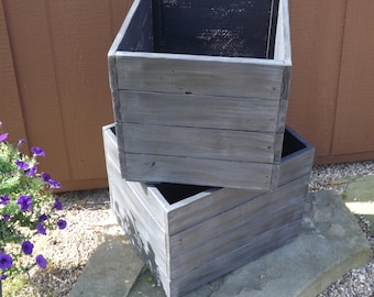 Wood planter box/Painted/stained planter boxes/flower box/storage/Mud room storage