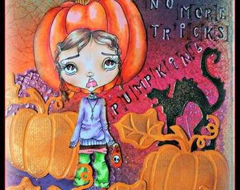 Digi Stamp Digital Instant Download Big Eye Creepy Cute Girl ~ Patty PumpkinHead Image No. 85 & 85B by Lizzy Love