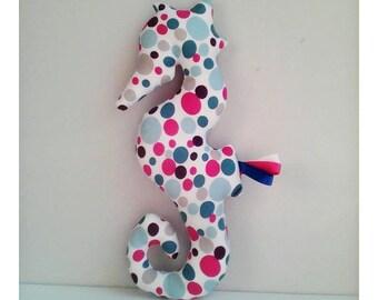 Decoration / round pink seahorse Plushie