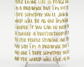 Imagine John Lennon, Gold Shower Curtain, Lyrics Print, Inspirational Shower Curtain, Gold Decor, Fabric Shower Curtain, Inspirational Gift
