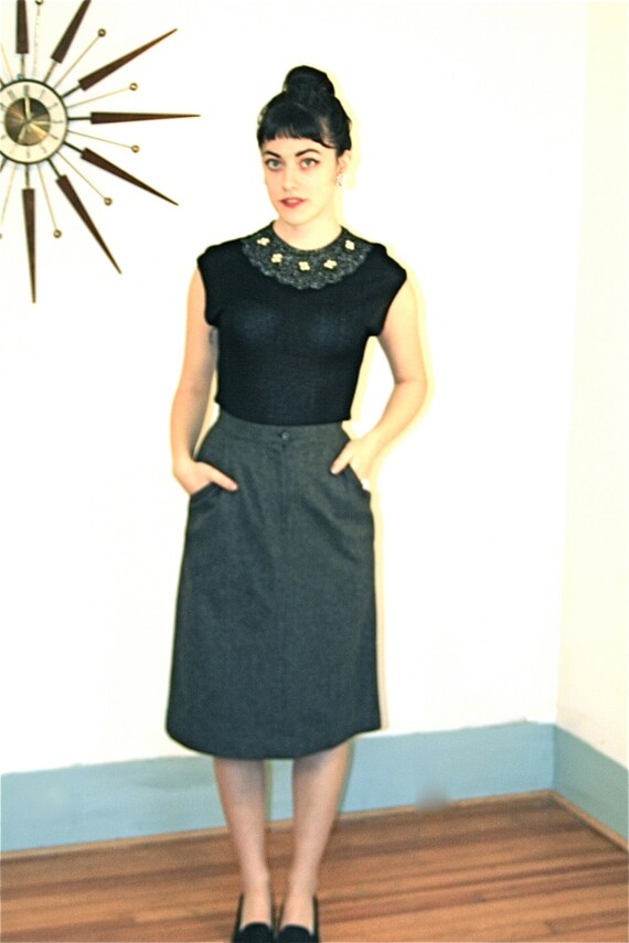Vintage 60s Pencil Skirt High Waisted Wool Sexy Secretary Heather Gray Tweed Fitted Wiggle MAD MEN Sexy Secretary Joan Holloway Long Skirt