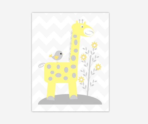 Baby Nursery Wall Art Yellow Giraffe CANVAS Prints Baby Boy