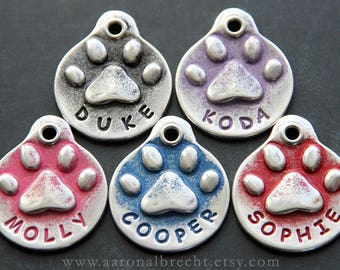 Dog Tags for Dogs - Personalized Dog Tag - Unique - Dog ID Tag - Dog Name Tag - Custom - Pet ID Tag - Paw Print - Handmade