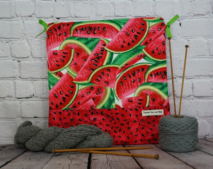 Watermelon print bag,  Knitting Project Bag, Crochet Project Bag, Yarn Bag, Fiber Project Bag, Sock knitting bag, Shawl project bag