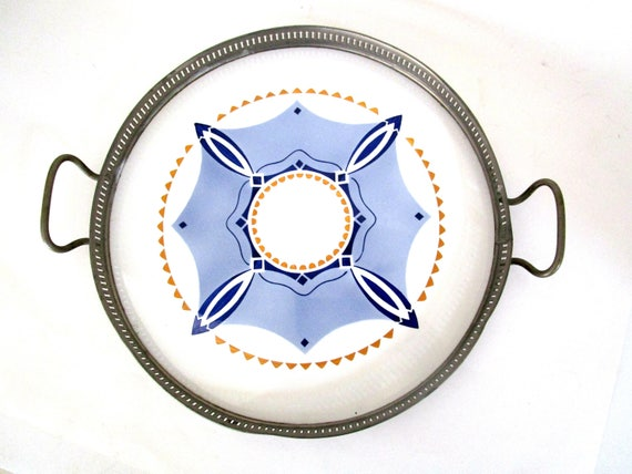 Cocktail Tray, Silver Plate, Porcelain, Art Deco Design, Round Serving Tray, Blues White Gold, Germany 1930s