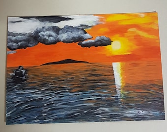 Sale Sunset View Painting On Paper Acrylic Handmade Wall Art High Quality NEW