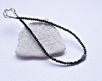 Blue diamond bracelet, rough diamond bracelet, April birthstone, dainty diamond bracelet, black layering bracelet, black stacking bracelet