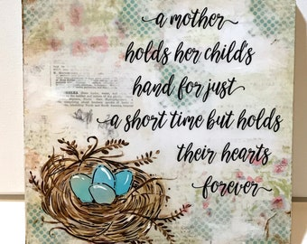 Mother's Day Gift, Mom Gift, Nest Sign, a mother holds her children's hands, Nest with eggs