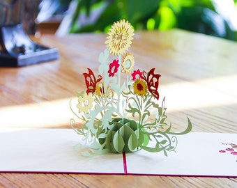 3D Pop Up Flowers All Occasion Thank You Cards - Wow your customers or Friends with this