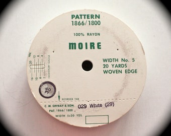 """Moire Ribbon - 7/8"""" x 20 yards White Rayon Woven Edge Ribbon - On Original Roll - Still with the plastic over it. Please Read Below"""