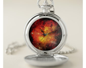 Galaxy On Fire Pocket Watch - Silver or Gold Cases Available!