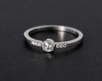 Diamond Ring - Rose Cut Diamond - White Gold, Choose Your Setting