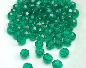 6MM Green Beads | Green Faceted Acrylic Beads | Set of 100 Beads