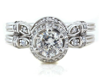 Vintage Halo Moissanite Engagement Ring and Diamond Band