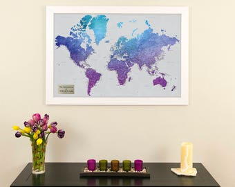 Violet world map etsy personalized vibrant violet watercolor world travel map push pin travel map 1st anniversary gift gumiabroncs Gallery