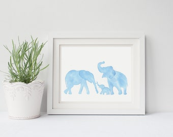 Watercolor painting of a family of elephants, kids room art, nursery decor, kids print
