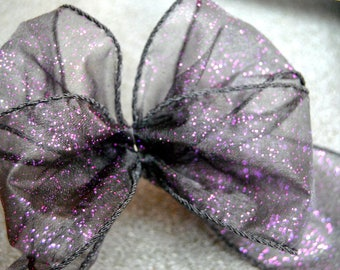 """Purple Glitter on Black Organza Wire Edged Wired Ribbon 2.5"""" wide Halloween, Christmas  craft , UK ribbon, trim, sewing supplies"""