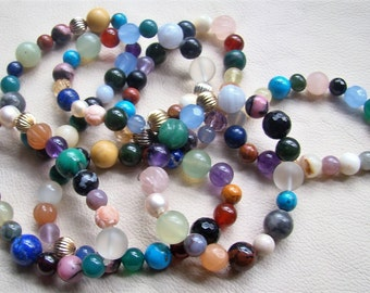 Stackable Stretchy Bracelets Made of Natural Stones with Sterling and/or GF Embelishments